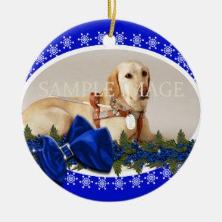 Pet memorial photo PERSONALIZE blue Ornaments