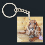 """Pet memorial photo PERSONALIZE Keychain<br><div class=""""desc"""">If you,  a family member or close friend have lost a cherished pet or have a new one then this fully customizable keyring / keychain is the ideal keepsake. CUSTOMIZE IT - Replace the custom photo template with one of your beautiful animal and keep their memories close to you</div>"""