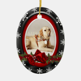 Pet memorial photo PERSONALIZE Double-Sided Oval Ceramic Christmas Ornament