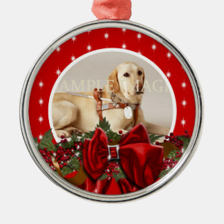 Pet memorial photo PERSONALIZE Round Metal Christmas Ornament