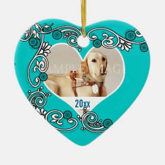 Pet memorial photo PERSONALIZE Double-Sided Heart Ceramic Christmas Ornament