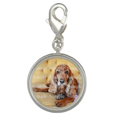 Pet memorial photo PERSONALIZE round Charm