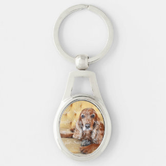 Pet memorial photo PERSONALIZE Silver-Colored Oval Metal Keychain