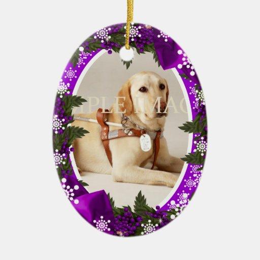 Pet memorial photo purple PERSONALIZE Ceramic Ornament