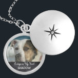 "Pet Memorial Photo Tribute Keepsake Locket Necklace<br><div class=""desc"">Personalized, pet photo memorial necklace for animal lovers is ready for you to create your own pet memorial photo gift. For pet owners who bereave the loss of a family pet and friend going over the rainbow bridge, it reads 'Always in My Heart' in handwritten, chalk effect letters with customizable...</div>"