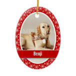 Pet memorial photo verse PERSONALIZE Double-Sided Oval Ceramic Christmas Ornament