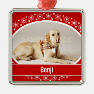 Pet memorial photo verse PERSONALIZE Square Metal Christmas Ornament