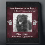 """Pet Memorial Red Black Marble Effect Silver Paws Plaque<br><div class=""""desc"""">Pet Memorial Red Black Marble Effect Silver Paws Photo Keepsake Plaque: Display this beautiful pet memorial plaque on your desk, mantle, or table to keep your beloved pet companion. This plaque features a two color marble effect print in deep red and black. PERSONALIZE this memorial with your dog&#39;s or cat&#39;s...</div>"""