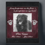 "Pet Memorial Red Black Marble Effect Silver Paws Plaque<br><div class=""desc"">Pet Memorial Red Black Marble Effect Silver Paws Photo Keepsake Plaque: Display this beautiful pet memorial plaque on your desk, mantle, or table to keep your beloved pet companion. This plaque features a two color marble effect print in deep red and black. PERSONALIZE this memorial with your dog&#39;s or cat&#39;s...</div>"