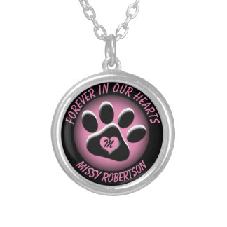 Pet Memorial with Changeable Colors Silver Plated Necklace