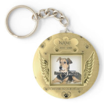 Pet Memorial with Gold Angel Wings Keychain