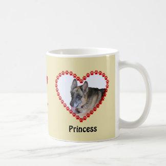 Pet memory custom name and photo paw prints coffee mug