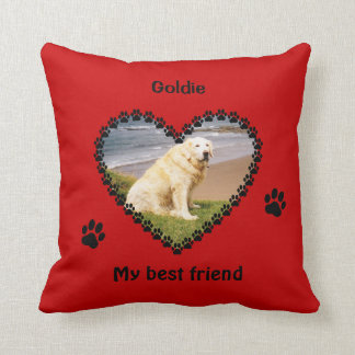 Pet memory paw prints your photo red throw pillow