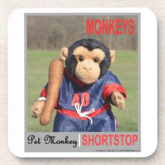 Pet Monkey Baseball Card Coaster Set