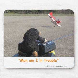 Pet Monkey Crashing Dads RC Plane Mouse Mat Mouse Pad