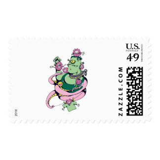 pet monster with pets funny vector cartoon postage stamp