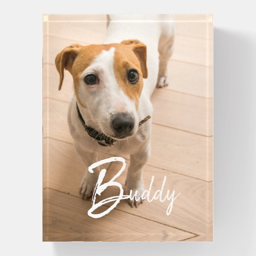 Pet Name in Script Typography and Pet Photo Paperweight