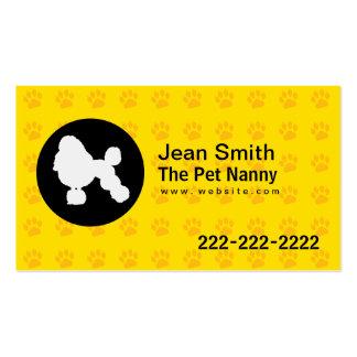 Pet Nanny Yellow Dog Footprints Business Card
