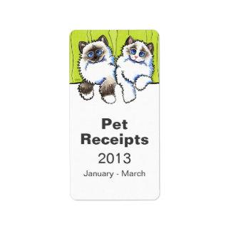 Pet Organization Bin Ragdoll Cats Off-Leash Art™ Label