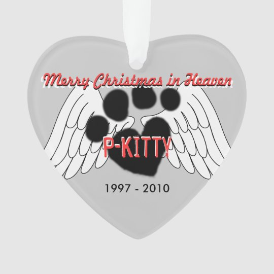 pet ornament 2 sided merry christmas in heaven