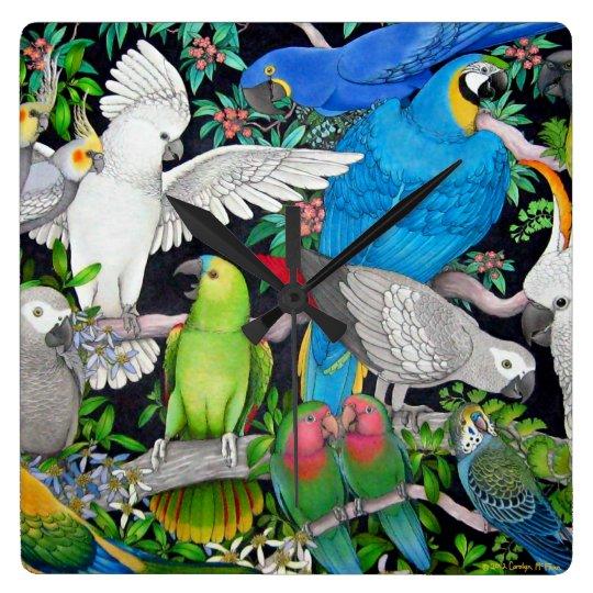 Pet Parrots of the World Wall Clock
