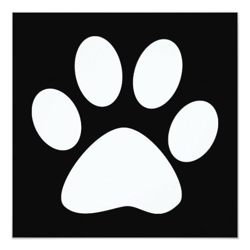 pet paw 5.25x5.25 square paper invitation card