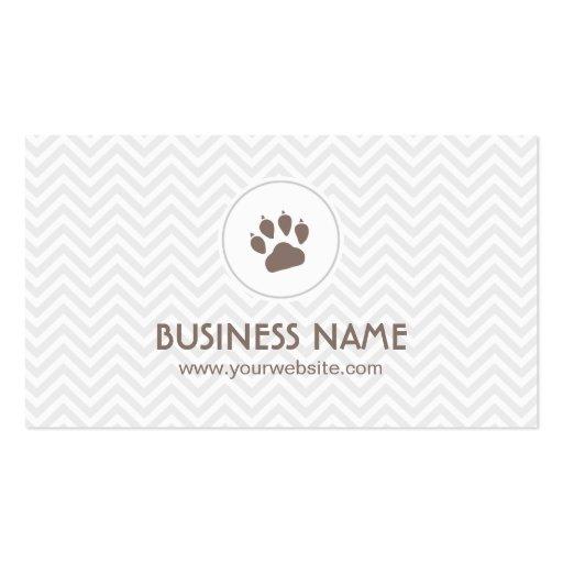 Pet Paw Footprint Chevron Stripes Business Card
