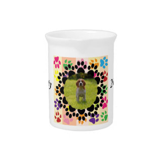 Pet Paw Frame on Paws Beverage Pitcher