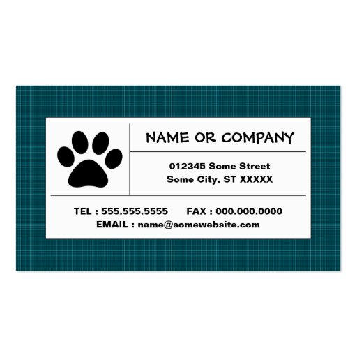 pet paw plaid business card
