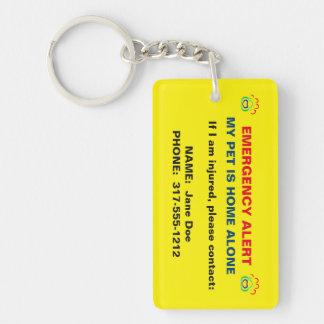 Pet Paw Print Emergency Alert Keychain