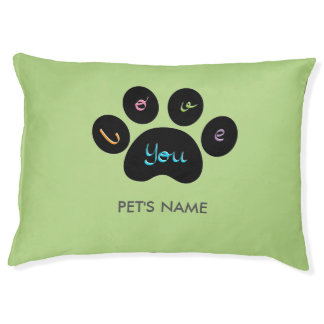 """""""Pet Paw Print with Love You"""" Customizable Pet Bed"""
