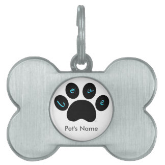 """""""Pet Paw Print with Love You"""" Customizable Pet ID Tag"""