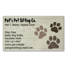 Pet Paw Prints On Faux Wood Magnetic Business Card at Zazzle