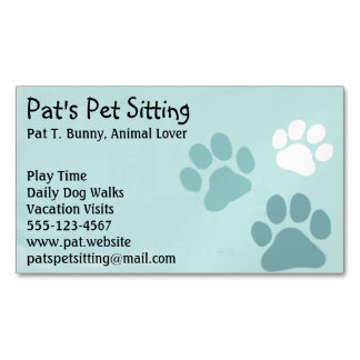 Pet Paw Prints on Teal Magnetic Business Card