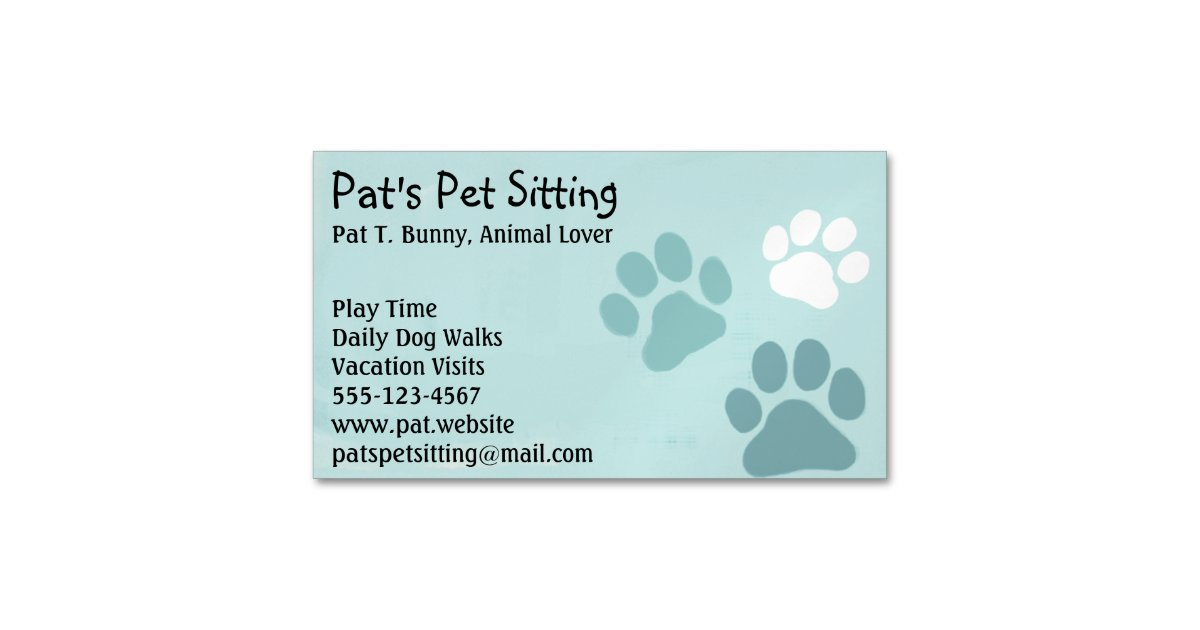 Pet Paw Prints on Teal Magnetic Business Card | Zazzle.com