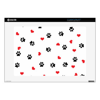 Pet paws and minimalist red hearts pattern decal for laptop