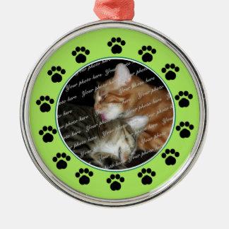 Pet Paws/ Green Metal Ornament