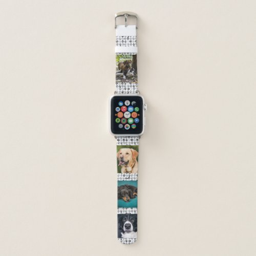 Pet Paws Photo Template Dog Cat Black White Apple Watch Band