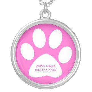 pet paws round pendant necklace