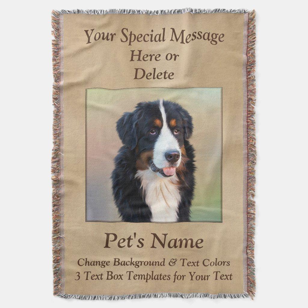 Pet memorial blanket throw