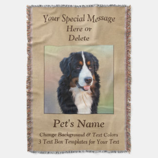 Pet Photo 3 Text Boxes Personalized Throw Blanket