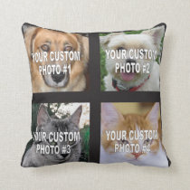 Pet photo collage custom dog or cat photos throw pillow