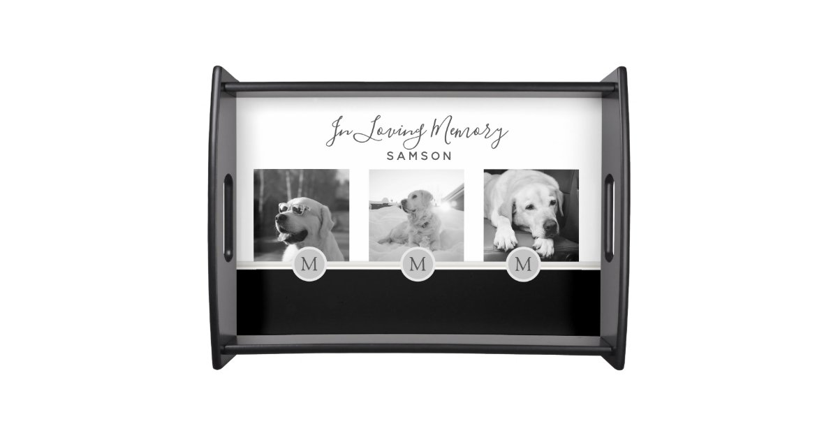 Pet Photo Collage Memorial - In Loving Memory Serving Tray   Zazzle.com