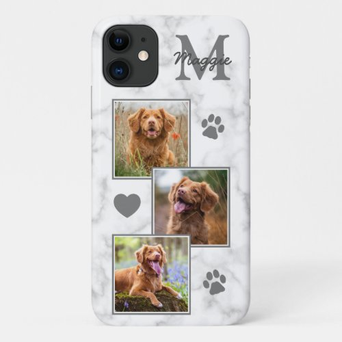Pet Photo Collage Modern Monogram Marble Cat Dog iPhone 11 Case