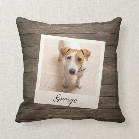Pet Photo Frame Rustic Wood Personalized Throw Pillow