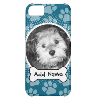 Pet Photo Frame with Paw Prints and Dog Bone iPhone 5C Covers