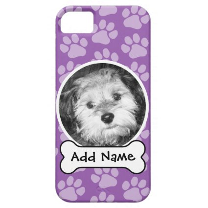 Pet Photo Frame with Paw Prints and Dog Bone iPhone 5 Cases