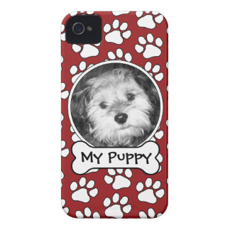 Pet Photo Frame with Paw Prints and Dog Bone Case-Mate iPhone 4 Case