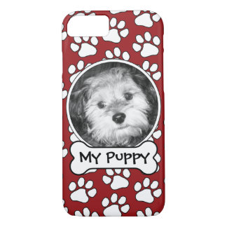 Pet Photo Frame with Paw Prints and Dog Bone iPhone 7 Case