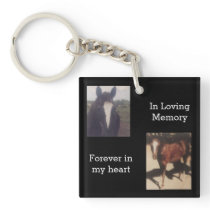 Pet Photo Horse Memorial Keepsake Keychain